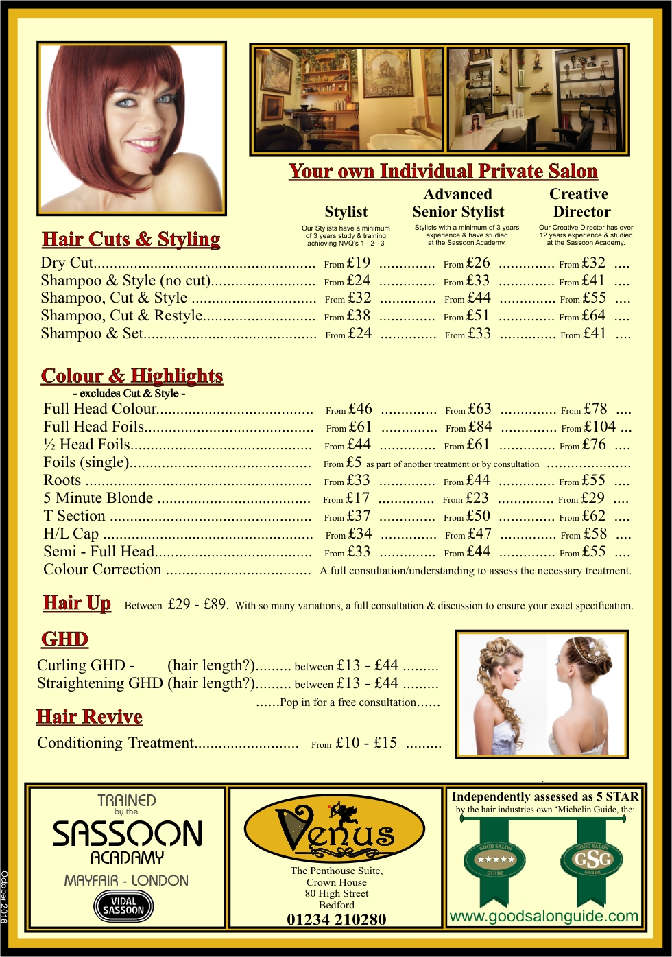 Venus Hair and Beauty Bedford - Price List 2016